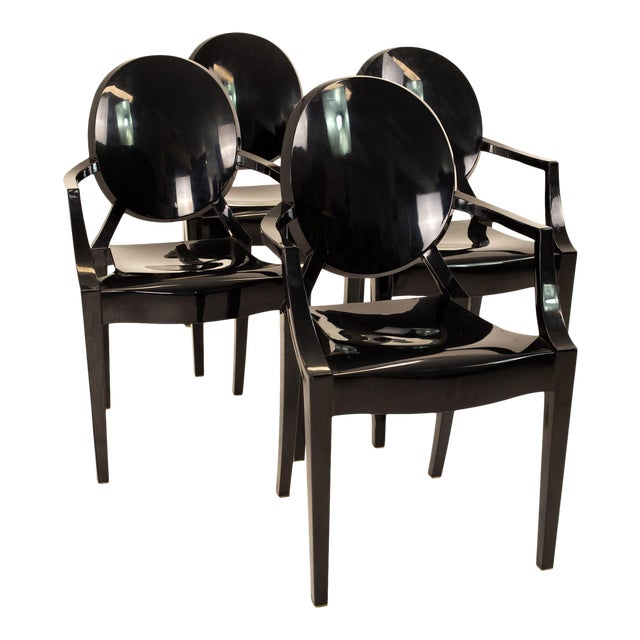 Kartell Mid Century Black Acrylic Ghost Dining Chairs - Set of 4 For Sale