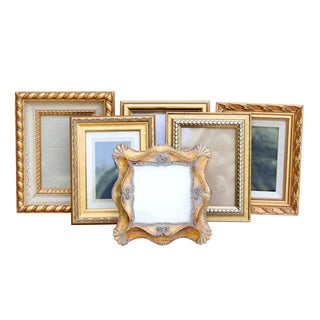 Gold Picture Frames, Set of 6