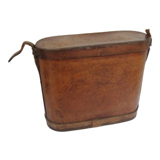 Antique Leather Lunch Box With 2 Thermos For Sale