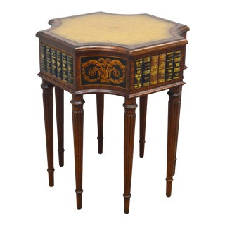 Maitland Smith Mahogany Leather Book Table For Sale