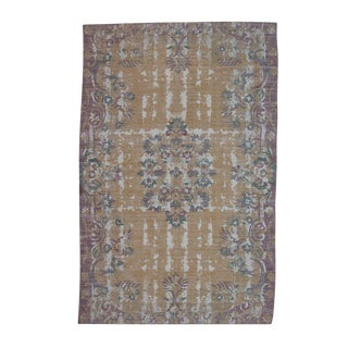 Orange and Purple Distressed Printed Cotton 'Dhurrie' Rug - 4′ × 6′ For Sale