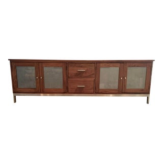 Room and Board Walnut Linear Media Cabinet For Sale
