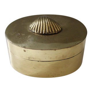 Vintage Brass Shell Box Trinket Box Jewelry Box Mid Century