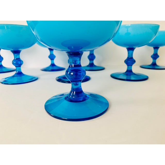 Mid 20th Century Vintage Carlo Moretti Turquoise Cased Glass Coupes - Set of 8 For Sale - Image 5 of 11