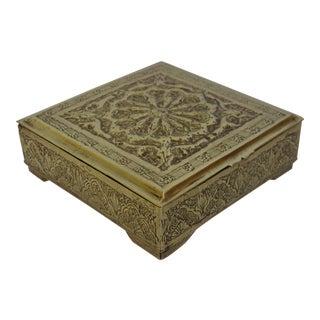 Vintage Solid Brass Trinket Box For Sale