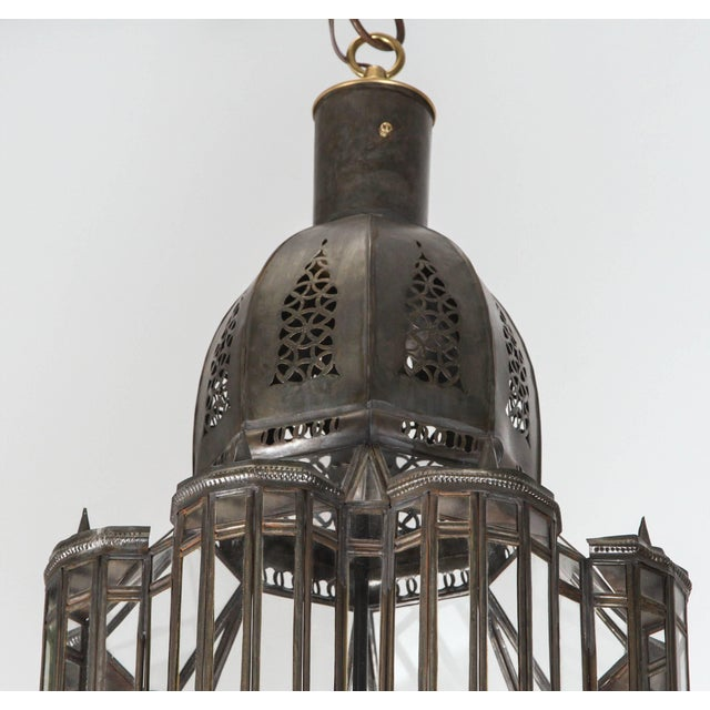 Islamic Large-Scale Moroccan Moorish Pendant Chandelier, Metal and Clear Glass For Sale - Image 3 of 7