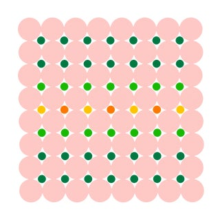 "Dot Structure 3: Blush Pink, Forest Green, Spring Green, Bright Orange, Lemon Yellow Print by Jessica Poundstone 20""x20"""