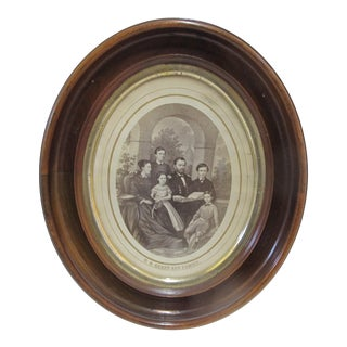 Us General Grant & Family Lithograph Black & White Portrait in Period Oval Frame For Sale