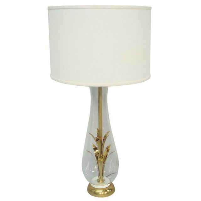 Brass and Glass Table Lamp For Sale - Image 4 of 4