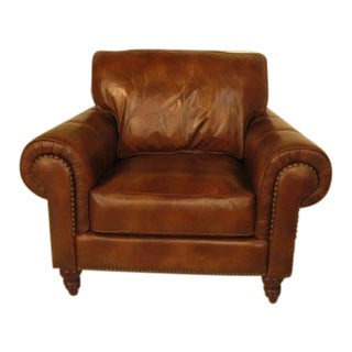 Henredon Traditional Light Brown Leather Club Chair For Sale