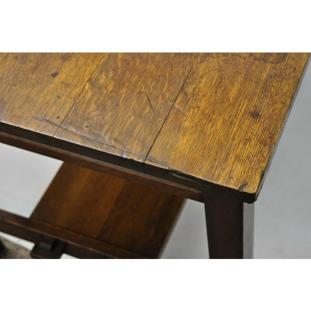 Brown 1900s Arts and Crafts L & Jg Stickley Library Table/Writing Desk For Sale - Image 8 of 12