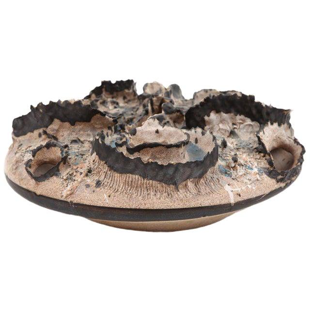 Joseph Broudo 1970s Ceramic Crater Vessel For Sale