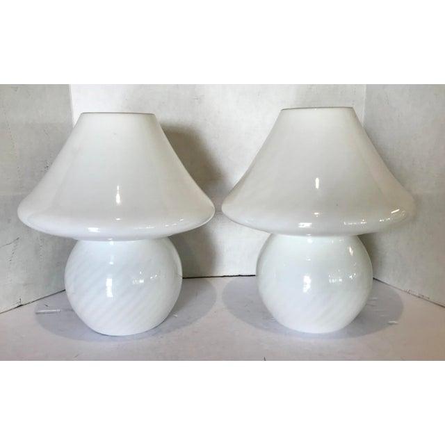 1960s White Swirl Venini Murano Mushroom Glass Lamps - a Pair For Sale - Image 9 of 9
