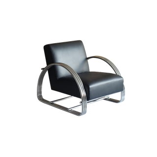 Modern Pasargad Home Concord Black Lounge Chair For Sale