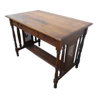 1950s French Country Plank Writing Desk For Sale