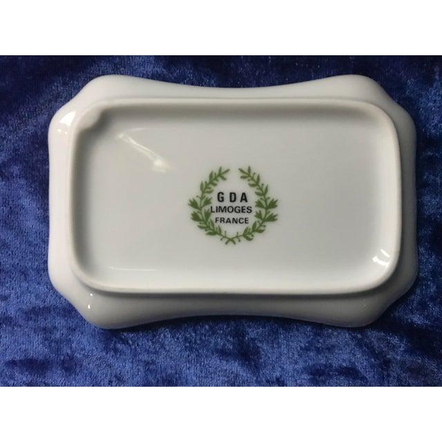 Ceramic Vintage Chateau De La Chèvre d'Or Eze Village French Limoges Trinket Soap Dish For Sale - Image 7 of 8