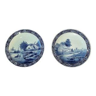 Vintage Delft Blue & White Platters - a Pair For Sale