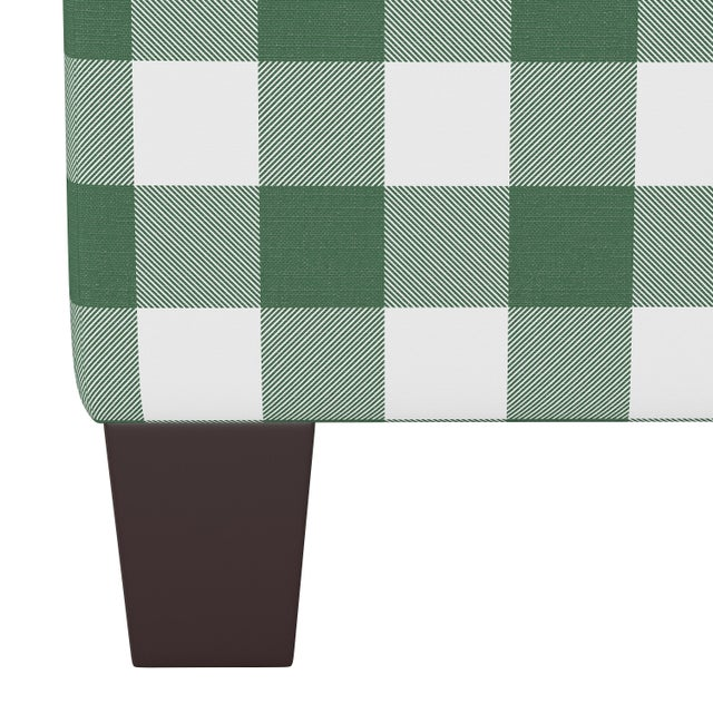 Contemporary Square Ottoman in Classic Gingham Evergreen Oga For Sale - Image 3 of 5