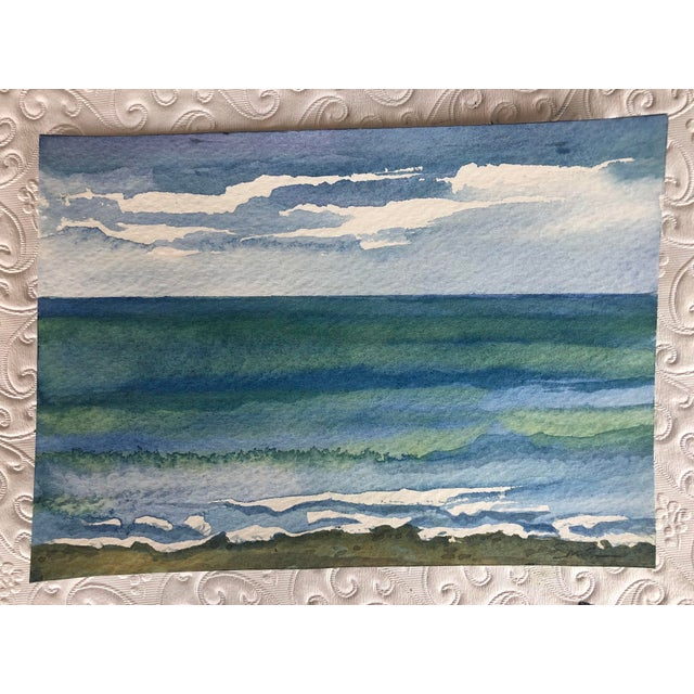 """Final Price! Contemporary Watercolor """"Catch a Wave"""" by Nancy Smith For Sale In South Bend - Image 6 of 6"""