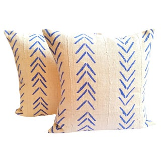 White and Blue Mud Cloth Pillow Covers - a Pair