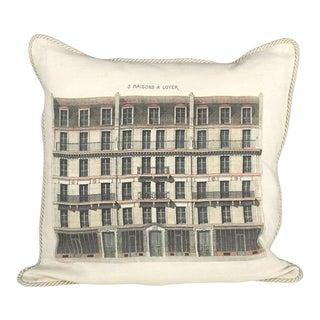 3 Maison a Loyer Linen Architecture Pillow For Sale