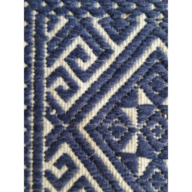 Hand Embroidered Indigo Tribal Rug - 2′6″ × 5′ - Image 5 of 6