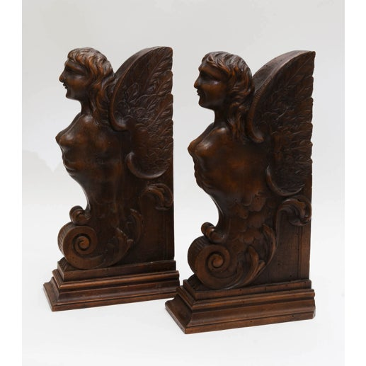 Brown Figurial Walnut Carved Bookends - a Pair For Sale - Image 8 of 11