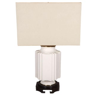 Chinoiserie White Crackle Glaze Table Lamp