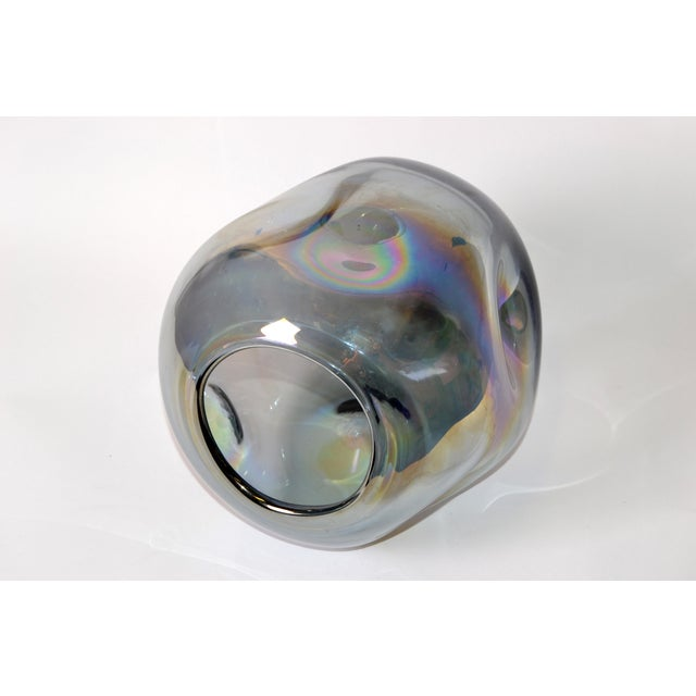 Blown Smoked Glass Vase Mid-Century Modern With Mirror Coating & Round Indents For Sale In Miami - Image 6 of 13