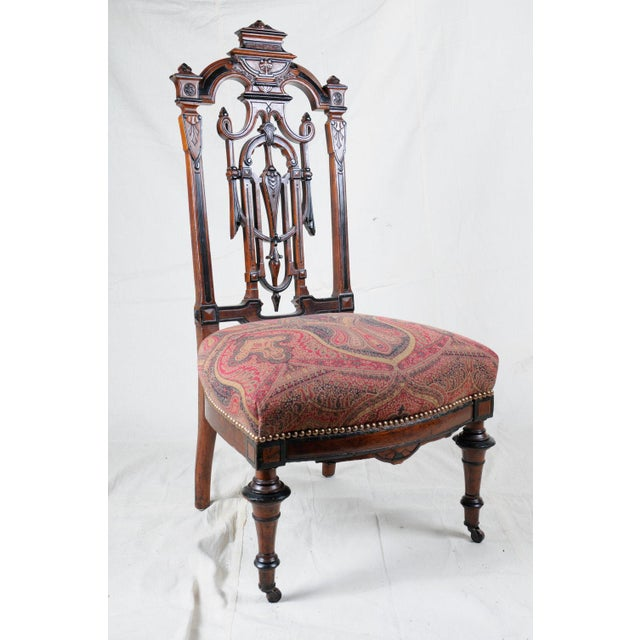 Textile 1880s Aesthetic Period Carved Wood Chair, Accent Chair, Victorian Style For Sale - Image 7 of 7