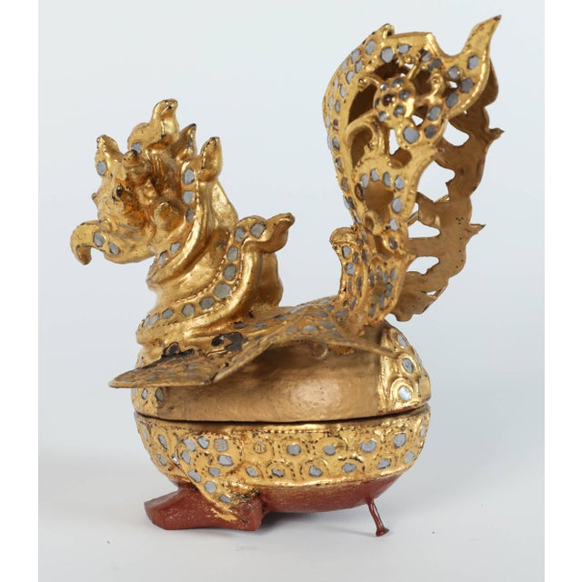 Metal Set of Three Hintha Burmese Bird-Shaped Betel Gold Lacquered Box For Sale - Image 7 of 12