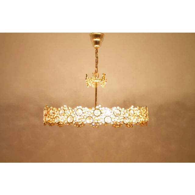 Mid-Century Modern Large Gilded Brass and Crystal Glass Chandelier by Palwa, Germany 1960s For Sale - Image 3 of 11