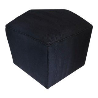 Black Chevron Striped Hexagon Ottomans - a Pair For Sale