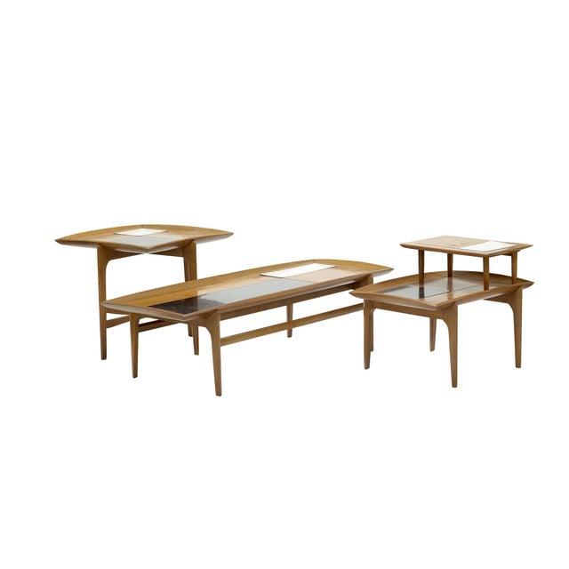 Wood Set of Three Vintage Midcentury Modern Tables Designed by John Keal for Brown Saltman For Sale - Image 7 of 7