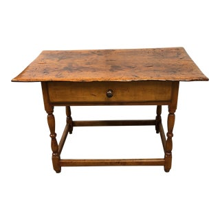 Antique Soldi Wood Occasional Table + Drawer For Sale