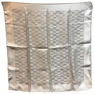 Hermes White Silk Woven H Pocket Square Handkerchief For Sale
