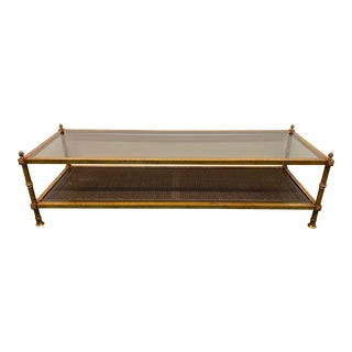 Gilt Finished + Smoked Glass + Cane Coffee Table For Sale