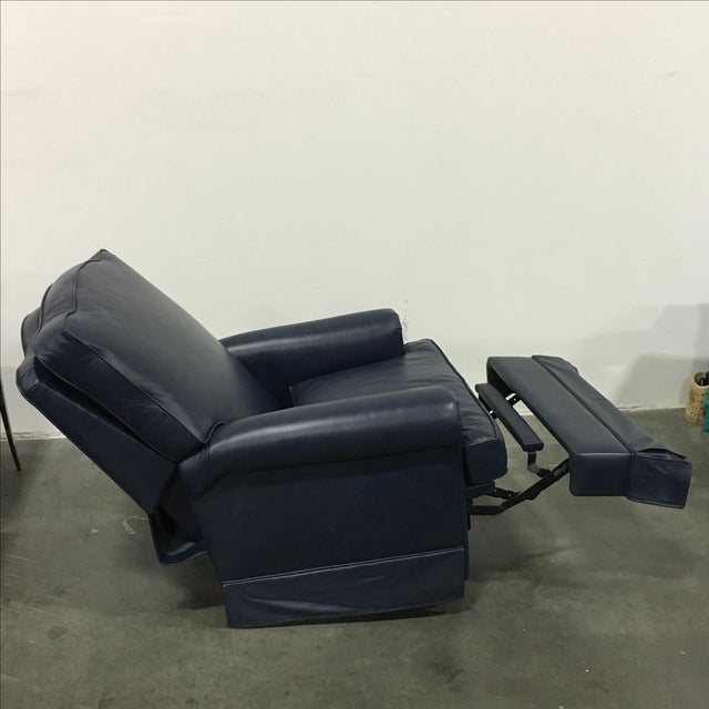 Navy Blue Swivel Recliner by Leathercraft - Image 7 of 10