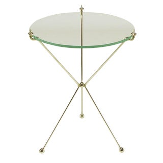 French Directoire Style Polished Bent Brass Rod Tripod Table. For Sale