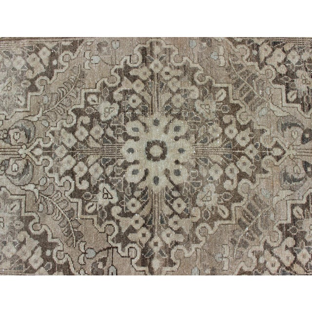 Tan Neutral Tone Vintage Persian Lilihan Rug With Medallion For Sale - Image 8 of 13