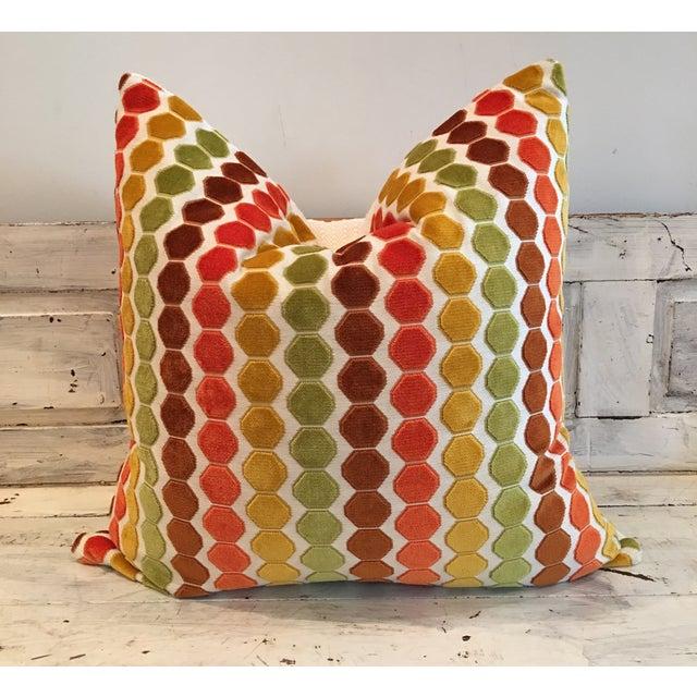 "Retro Geometric Cut Velvet 26"" Pillows - Pair - Image 2 of 4"