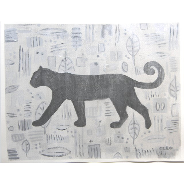 .Abstract painting of an Art Deco panther or other big cat in shades of gray on a textured gray background of reminiscent...