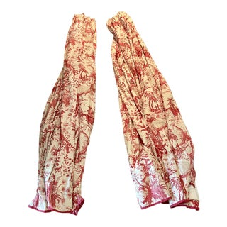 Pair of Brunschwig Red Toile Panels For Sale