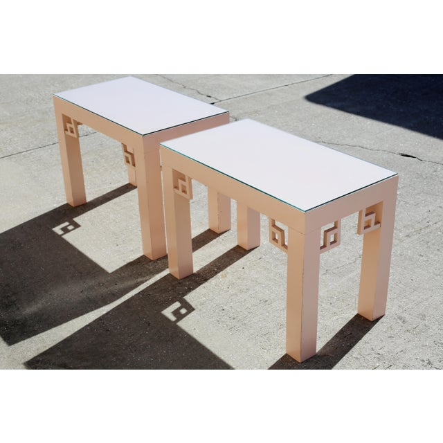 1970s Vintage Blush Laminate Side Tables With Corner Accents and Glass Tops - a Pair For Sale - Image 5 of 13