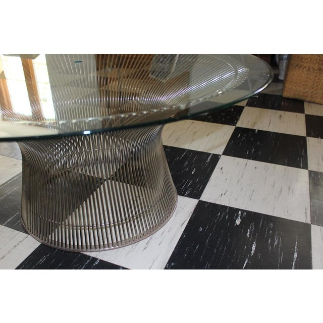 2000s Warren Platner for Knoll Chrome & Beveled Glass Top Coffee Table For Sale - Image 5 of 6