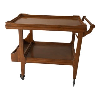 Vintage Light Color Solid Wood Teacart / Bar Cart For Sale