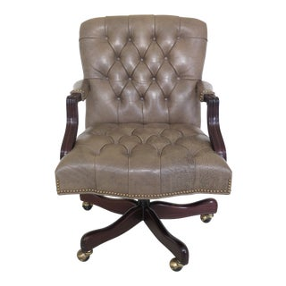 Cabot Wren Textured Print Tufted Leather Desk Chair For Sale