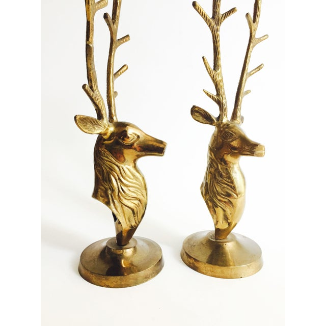 Boho Chic Large Vintage Brass Deer Candle Holders For Sale - Image 3 of 4