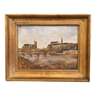 19th Century French Hand Painted Porcelain Plaque of the City of Auxerre For Sale