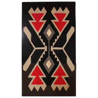 Mounted American, Hand Hooked Indian Design Rug For Sale